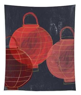 Three Red Lanterns- Art By Linda Woods Tapestry