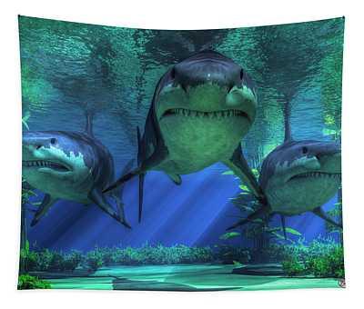 Three Sharks Tapestry