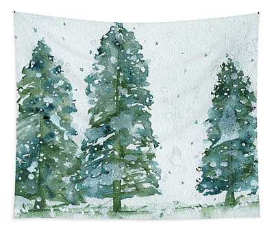 Three Snowy Spruce Trees Tapestry