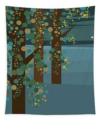 Three Trees With Gold Tapestry