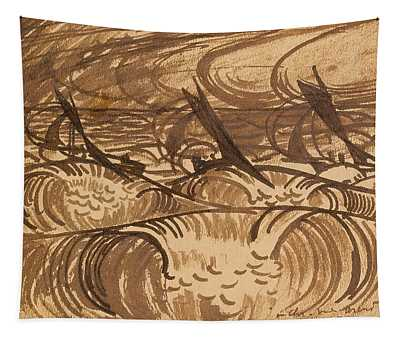 Three Vessels On The Sea Tapestry