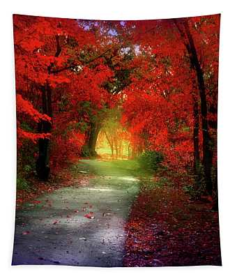 Through The Crimson Leaves To A Golden Beginning Tapestry