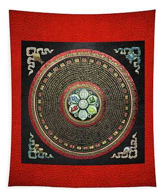 Tibetan Om Mantra Mandala In Gold On Black And Red Tapestry