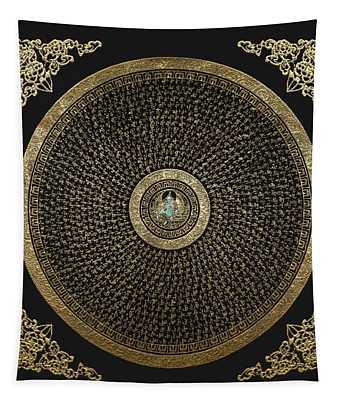 Tibetan Thangka - Green Tara Goddess Mandala With Mantra In Gold On Black Tapestry