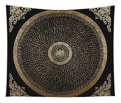Tibetan Thangka - Green Tara Goddess Mandala With Mantra In Gold On Black Tapestry