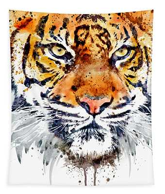Tiger Face Close-up Tapestry
