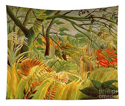Tiger In A Tropical Storm Tapestry