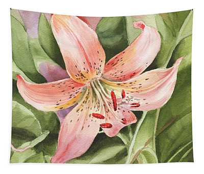 Tiger Lily Watercolor By Irina Sztukowski Tapestry