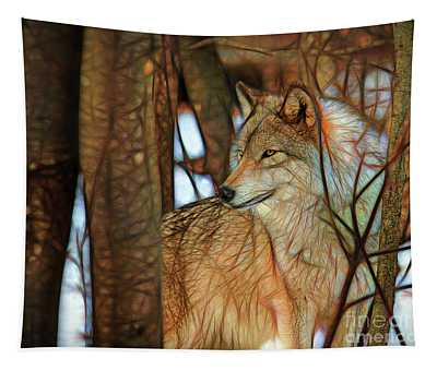 Timber Wolf Colorful Art Tapestry