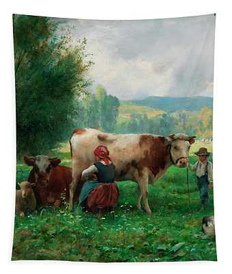 Time Of Milking Tapestry