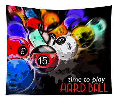 Time To Play Hard Ball Black Tapestry