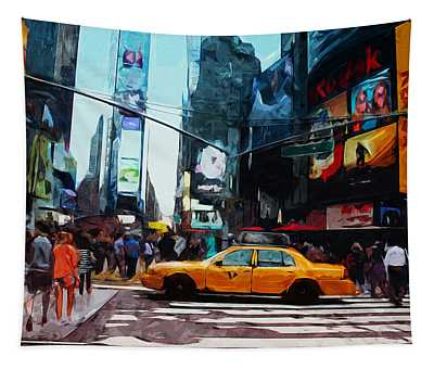 Times Square Taxi- Art By Linda Woods Tapestry
