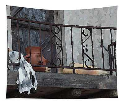Tapestry featuring the digital art Tiny Southwest Balcony by Shelli Fitzpatrick