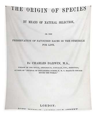 Title Page Of The Origin Of Species By Charles Darwin Tapestry