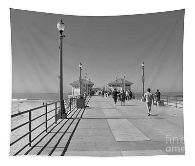 To The Sea On Huntington Beach Pier Tapestry