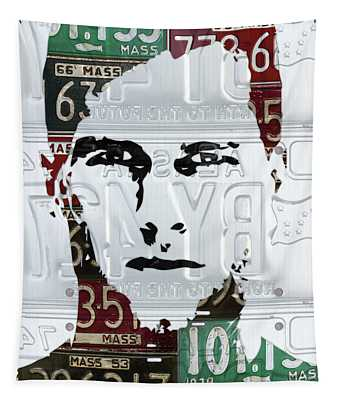 Tom Brady New England Patriots Massachusetts Recycled Vintage License Plate Portrait Original Tapestry
