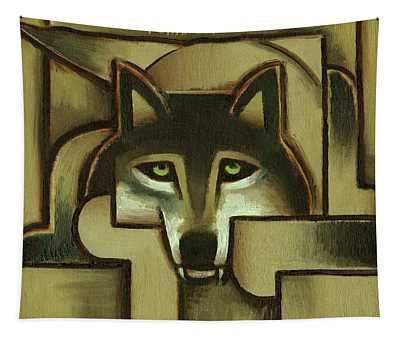 Wolf Wall Art - Gold Abstract Wolf - By Tommervik Tapestry