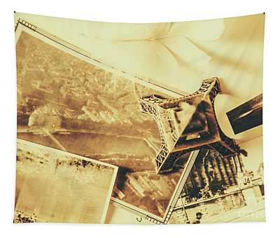 Toned Image Of Eiffel Tower And Photographs On Table Tapestry