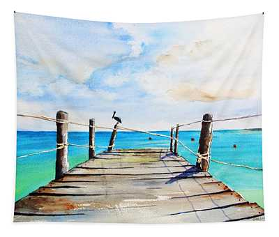 Top Of Old Pier On Playa Paraiso Tapestry