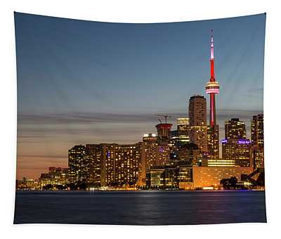 Toronto Skyline At Dusk Tapestry
