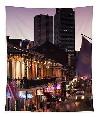 Tourists Walking In The Street, Bourbon Tapestry
