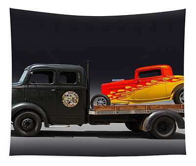 Towing Hot Rod Tapestry
