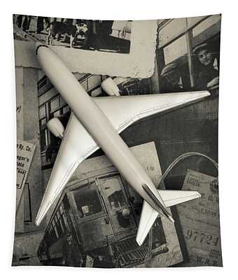 Toy Airplane Vintage Travel Tapestry