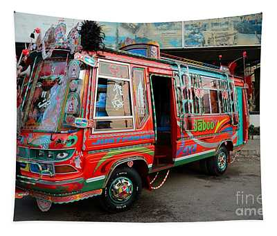 Traditionally Decorated Pakistani Bus Art Karachi Pakistan Tapestry