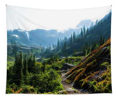 Trail In Mountains Tapestry