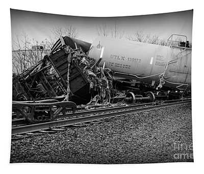 Train Accident In Black And White Tapestry