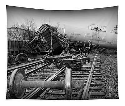 Train Wreck In Black And White Tapestry