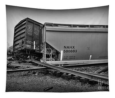 Train Wreckage In Black And White Tapestry