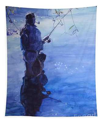 Watercolor Tranquil Fishing Tapestry