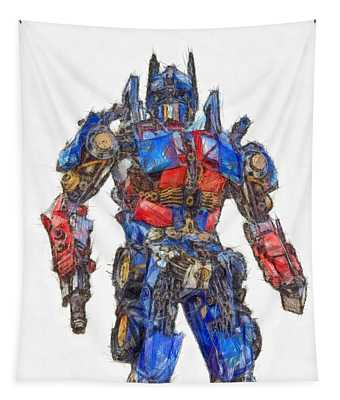 Transformers Optimus Prime Or Orion Pax Colored Pencil Tapestry