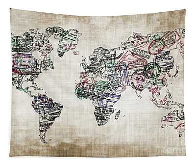 Traveler World Map Sepia Color Tapestry