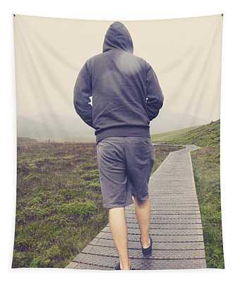 Travelling Man On Winter Walking Hike To Tasmania Tapestry