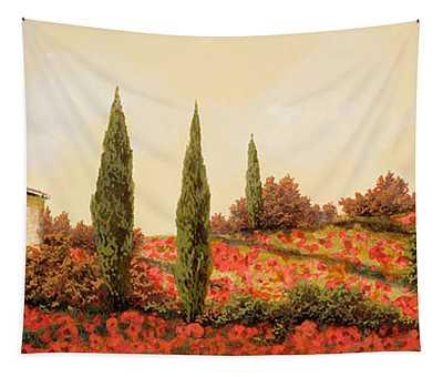 Tre Case Tra I Papaveri Tapestry