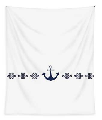 Treasure Knot And Anchor In Blue Tapestry