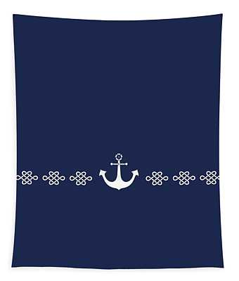 Treasure Knot And Anchor In White Tapestry