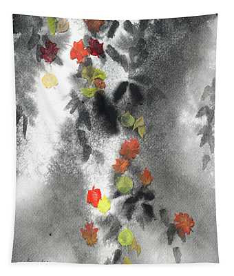 Tree Shadows And Fall Leaves Tapestry