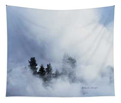 Trees Through Firehole River Mist Tapestry