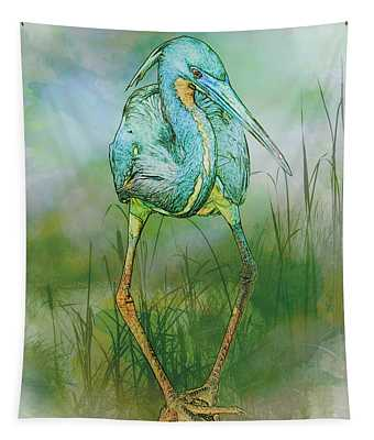 Tri-colored Heron Balancing Act - Colorized Tapestry