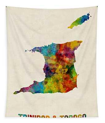 Trinidad And Tobago Watercolor Map Tapestry