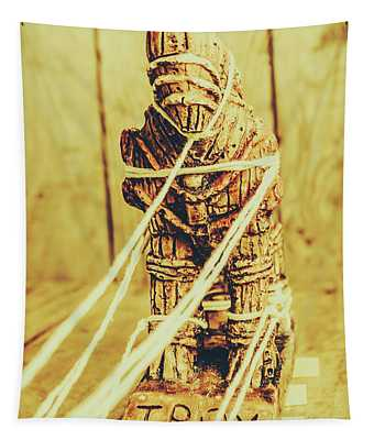 Trojan Horse Wooden Toy Being Pulled By Ropes Tapestry
