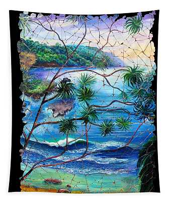 Tropical Cove  Fresco Triptych 2 Tapestry