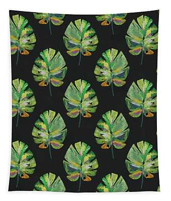 Tropical Leaves On Black- Art By Linda Woods Tapestry
