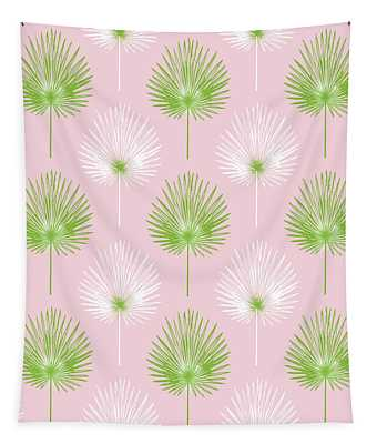 Tropical Leaves On Pink 2- Art By Linda Woods Tapestry