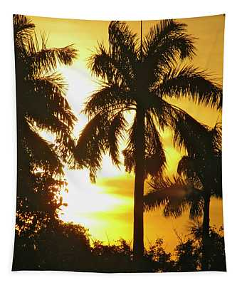 Tropical Sunset Palm Tapestry