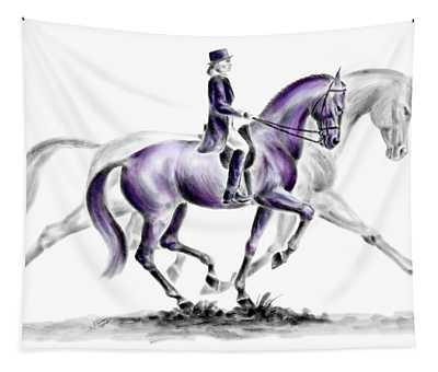Trot On - Dressage Horse Print Color Tinted Tapestry