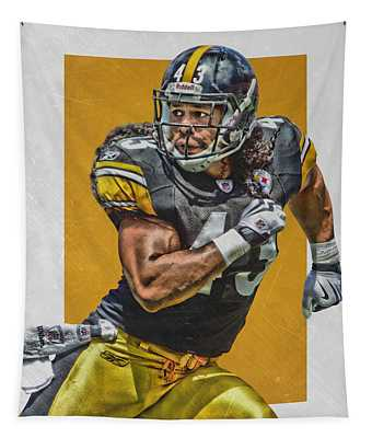 Troy Polamalu Pittsburgh Steelers Art Tapestry